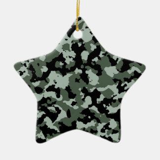 軍の緑のカムフラージュパターン 陶器製星型オーナメント