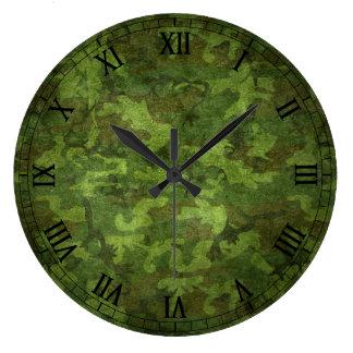 軍の緑のカムフラージュ 壁時計