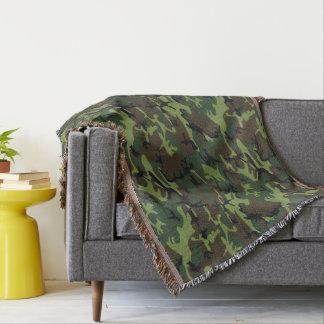 軍の緑の迷彩柄パターン スローブランケット