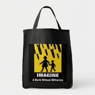 軍国主義なしで世界を想像して下さい トートバッグ