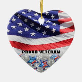 軍隊のための歴戦の勇士のプライド米国の旗|のギフト セラミックオーナメント