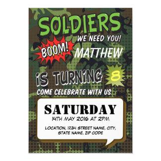 軍隊のカムフラージュの喜劇的なポップアートの子供の誕生日 カード