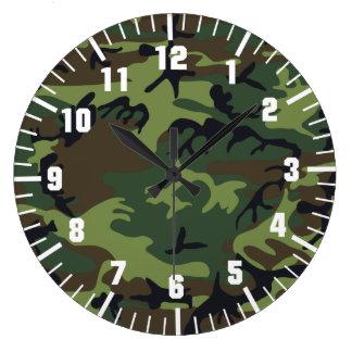 軍隊のカムフラージュパターン ラージ壁時計