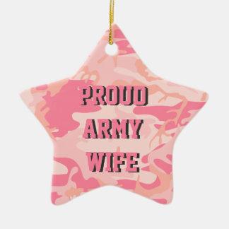 軍隊の妻|の両面ピンクの迷彩柄の名前をカスタムする セラミックオーナメント