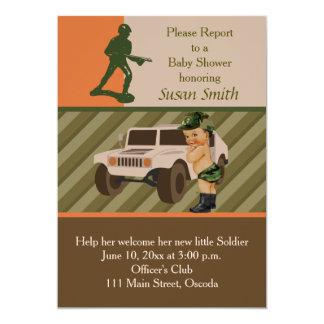軍隊の緑のカムフラージュのベビーシャワーの招待 12.7 X 17.8 インビテーションカード
