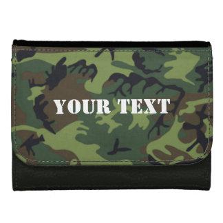 軍隊の緑の迷彩柄の札入れ