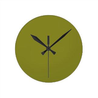 """軍隊の緑(""""あなたはないすきの後ろで""""色)の~ ラウンド壁時計"""