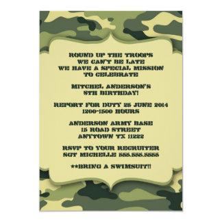 軍隊の軍のカムフラージュの誕生会の招待 カード