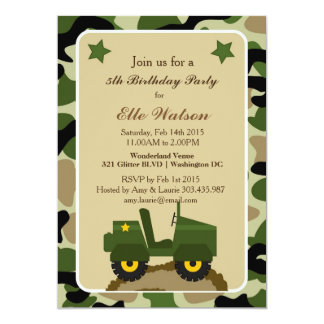 軍隊の軍の迷彩柄のバースデーパーティ招待状 カード