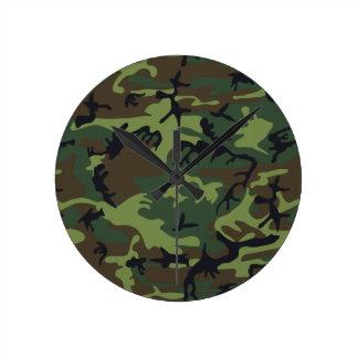 軍隊の迷彩柄 ラウンド壁時計