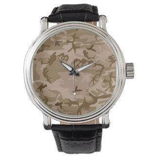 軍隊の黄褐色の砂漠のStromの迷彩柄の腕時計 腕時計