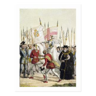 軍隊を再び集めているエリザベス女王一世(1530-1603年) ポストカード