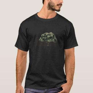 軍隊色の低い多木の絵の男性のTシャツ Tシャツ
