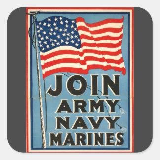 軍隊、海軍、海兵隊員WPA 1917年に加わって下さい スクエアシール