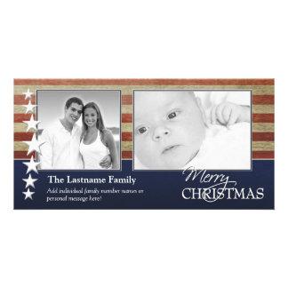 軍/愛国心が強いクリスマスの写真カード カード