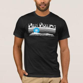 転がる丘-日没のデザインの黒いTシャツ Tシャツ