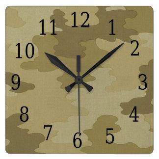 軽いカムフラージュの正方形の時計 クロック