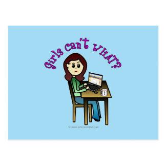 軽いコンピュータ女の子 ポストカード
