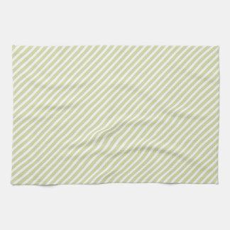 軽いセージグリーンの対角線は縞で飾ります キッチンタオル