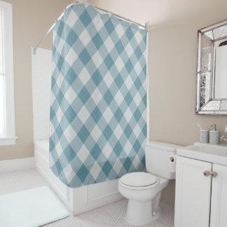 軽いティール(緑がかった色)の青い国のコテージのギンガムは縞で飾ります シャワーカーテン