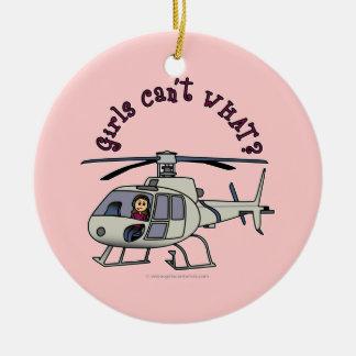 軽いヘリコプターのパイロットの女の子 セラミックオーナメント