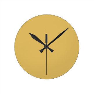 軽いマスタードの黄色の無地 ラウンド壁時計