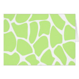 軽いライムグリーンのキリンのプリントパターン カード