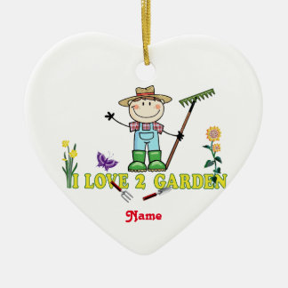 """軽い人のブルネットの庭師""""私は愛します2庭を"""" セラミックオーナメント"""