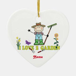 """軽い人のブロンドの庭師""""私は愛します2庭を"""" セラミックオーナメント"""