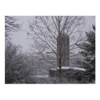 軽い冬の雪のテネシー州の東のサイロ ポストカード