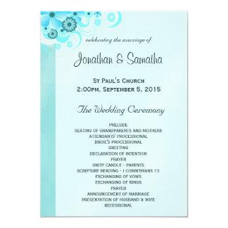 軽い水の青いターコイズの花柄の結婚式プログラム 12.7 X 17.8 インビテーションカード