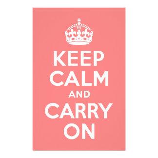 軽い珊瑚のKeep Calm and Carry On 便箋