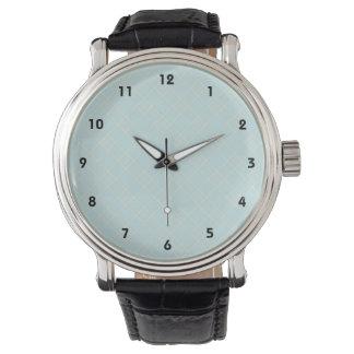 軽い空色の格子縞 腕時計