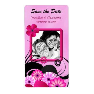 軽い赤紫の写真の保存日付のワインのラベル 発送ラベル
