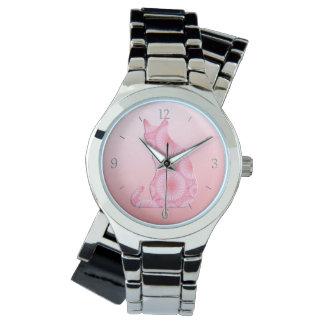 """""""軽い""""猫-珊瑚のピンクの車輪 腕時計"""