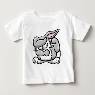 軽く押えるウサギ ベビーTシャツ