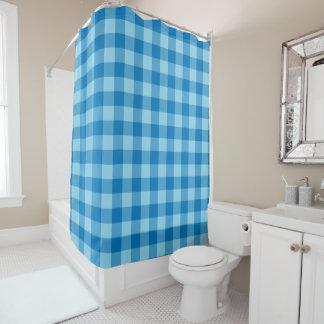 軽く、濃紺のギンガムによって点検されるパターン シャワーカーテン