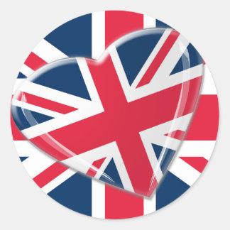 軽快な英国国旗の旗およびハートの芸術 ラウンドシール