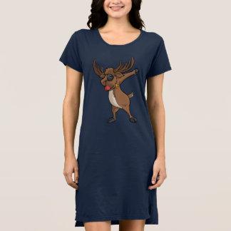 軽打のトナカイのTシャツのおもしろいなクリスマスの軽く押えるダンス ドレス