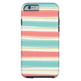 輝きおよびストライプなiPhone 6の貝 ケース