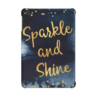 輝きおよび輝やきの金ゴールド及び水彩画のタイポグラフィの芸術 iPad MINI RETINAケース