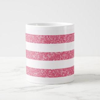 輝きのグリッターの一見はジャンボマグを縞で飾ります ジャンボコーヒーマグカップ