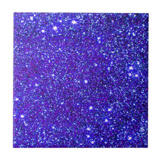 輝きのグリッターの夜空のStarfieldの濃紺の星 タイル