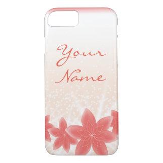 輝きのモモの光沢がある花のiPhone iPhone 8/7ケース