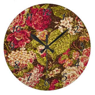 輝きの効果の花柄のブロケード ラージ壁時計