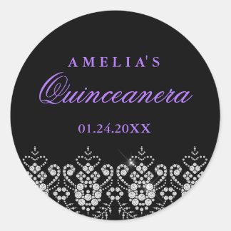 輝きの宝石の黒の紫色のキンセアニェラのステッカー ラウンドシール