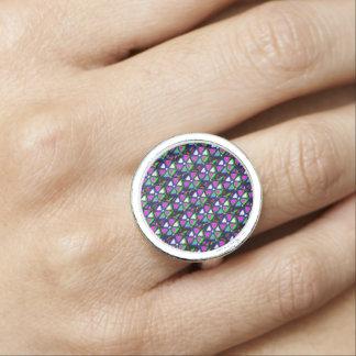 輝きの花の星Pin紫色エネルギー芸術のグラフィック 指輪