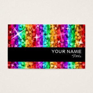輝きの虹のストライプの名刺の黒のストライブ柄 名刺