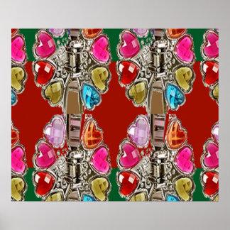 輝きの赤い真珠パターンコレクションの心拍 ポスター