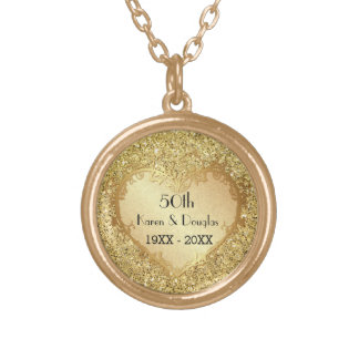 輝きの金ゴールドのハート第50の結婚記念日 ゴールドプレートネックレス